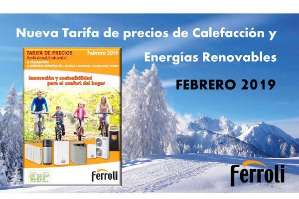 ferroli lanza su nueva tarifa de precios de calefaccin y energas renovables