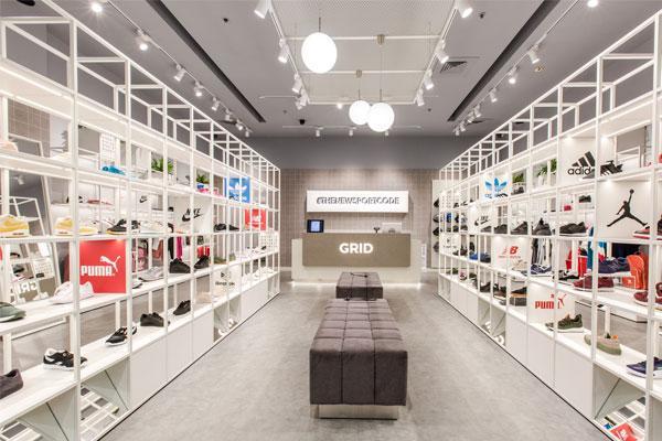 himacs concrete aporta un look elegante y urbano a la nueva tienda grid
