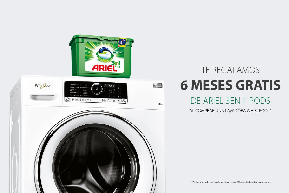 whirlpool regala seis meses de detergente ariel