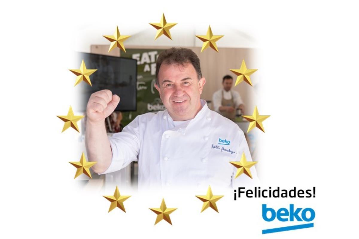 beko felicita a berasategui embajador de la marca por sus dos estrellas michelin