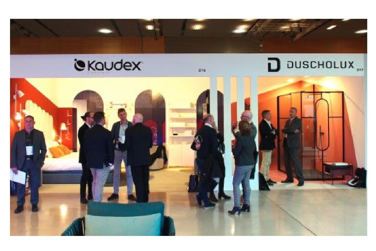 duscholux y kaudex fascinan con su estancia minimalista y geomtrica en interihotel 2019