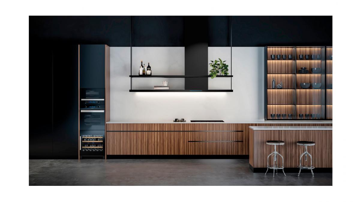 pando propone integrar la vinoteca dentro del mobiliario de cocina