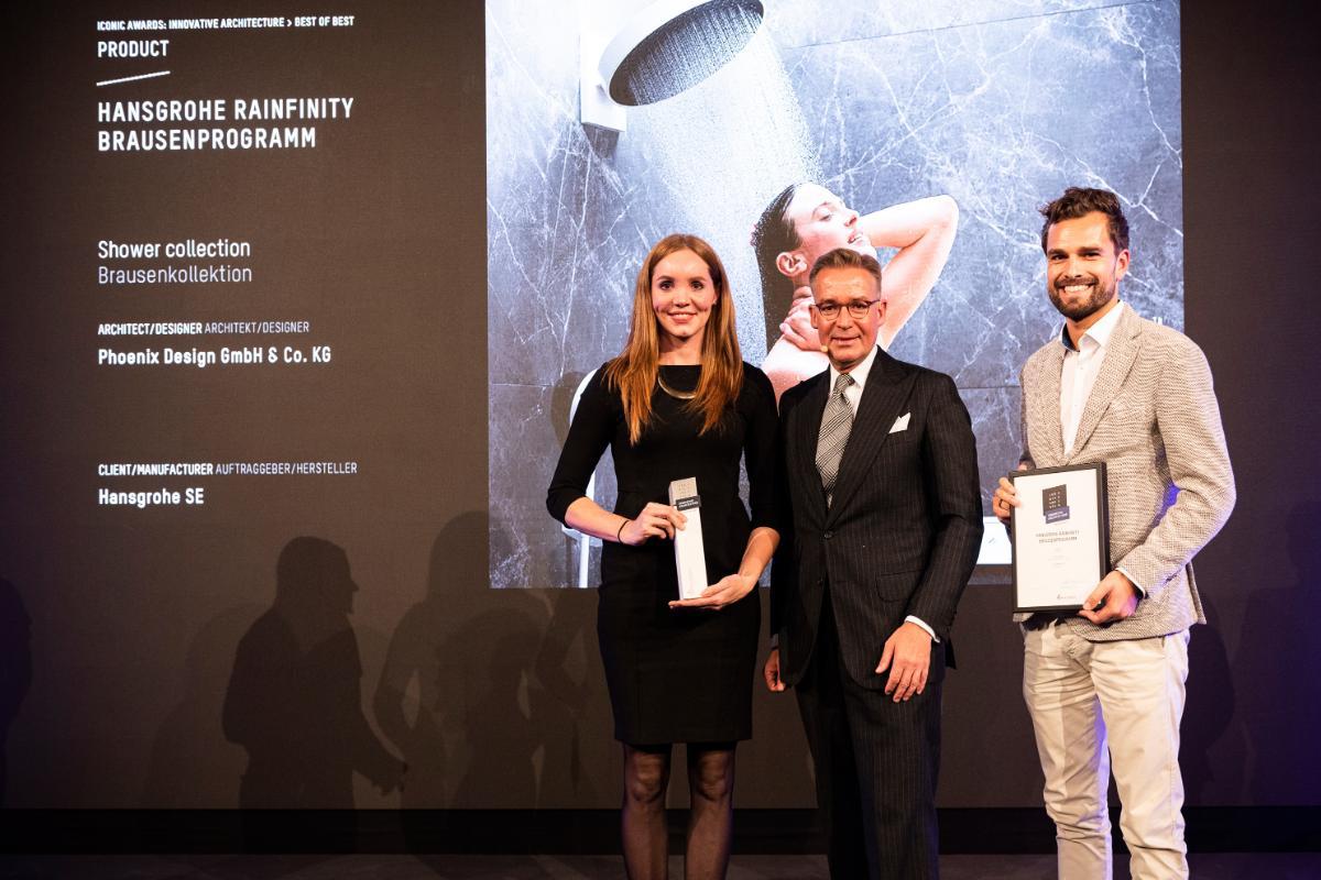 rainfinity y raintunes de hansgrohe premiados con el best of best en los iconic awards 2019