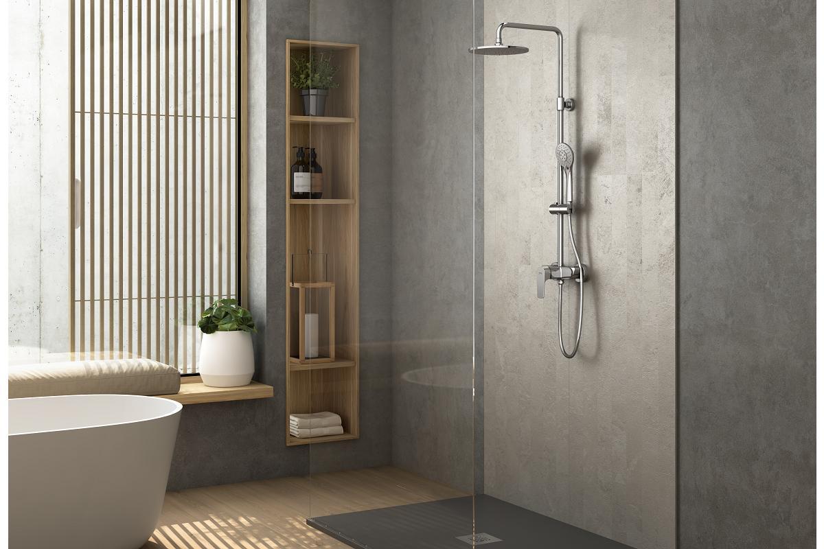 genebre lanza su nueva columna de ducha extensible con sistema geeasy