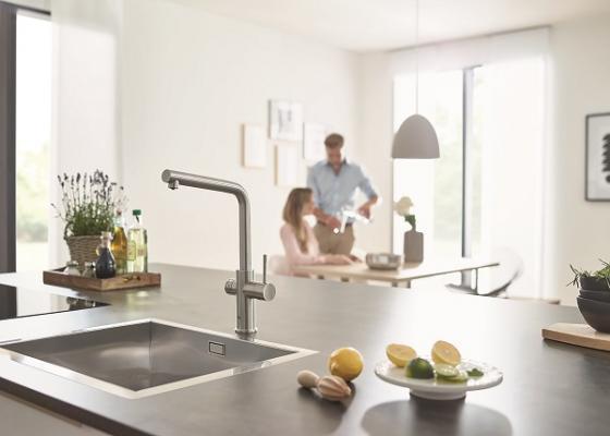 agua fria filtrada o con gas desde el grifo de la cocina grohe blue home