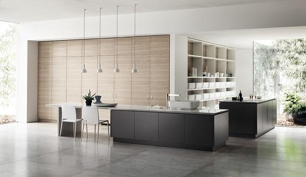 ambiente elegante y minimalista para la ki de scavolini