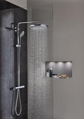 ducha doblemente envolvente con los sistemas de grohe y aquatunes