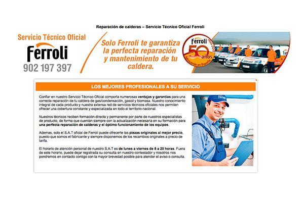 ferroli lanza nueva pgina web para su servicio tcnico oficial