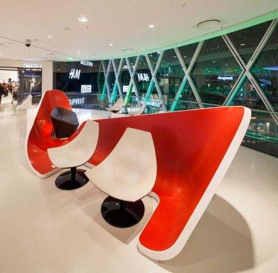 himacs destaca en el diseo de los muebles del centro comercial beaugrenelle