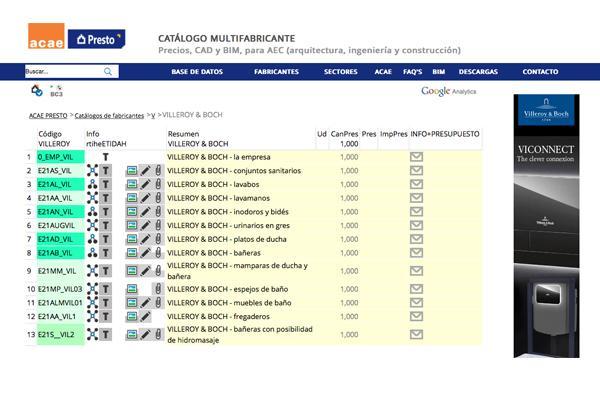 los productos de villeroy  boch bao y wellness actualizados en wwwacaees