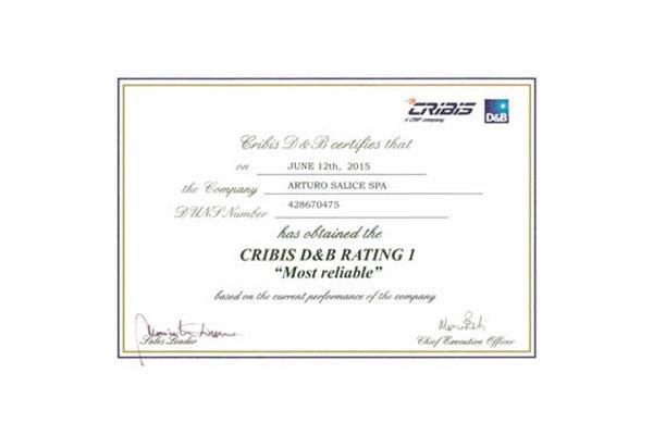 salice recibe un certificado de fiabilidad fianaciera
