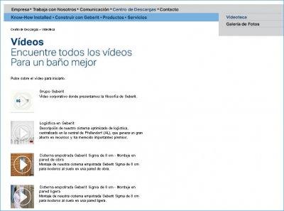 videoteca geberit para visualizar o descargar vdeos explicativos sobre los diferentes productos de la firma